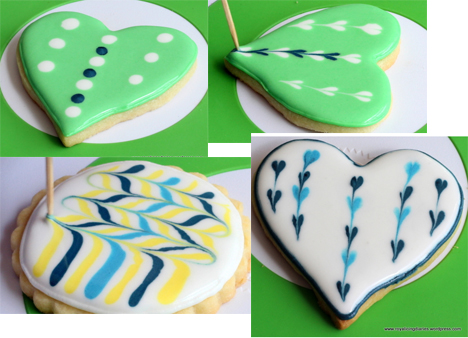 Example of wet-on-wet Royal Cookie decoration by Royal Icing Diary