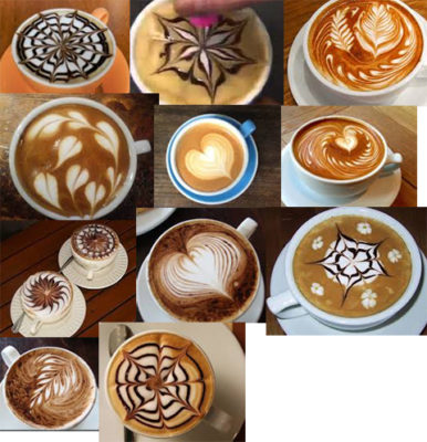 Examples of coffee marbling design