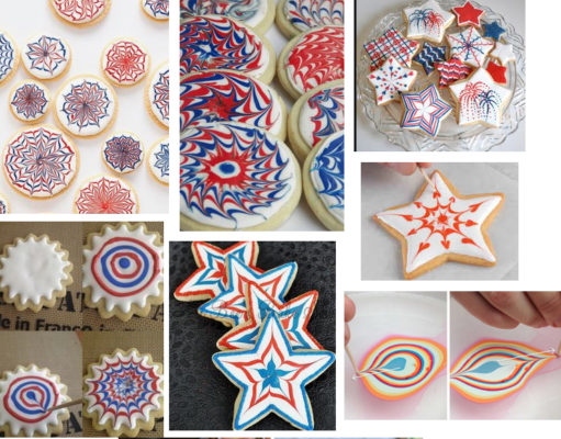 Examples of Royal Icing wet-on-wet designs