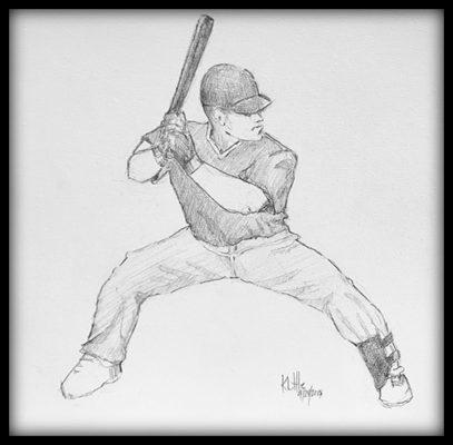 Pencil sketch of baseball batter by Karen Little
