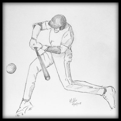 Pencil sketch of baseball batter hitting a ball