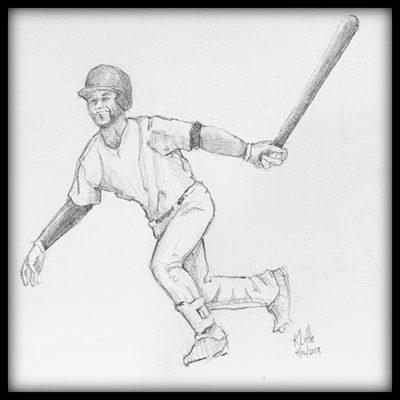 Pencil sketch of baseball batter starting his run