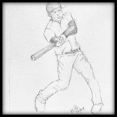 Pencil sketch of baseball batter swinging a bat