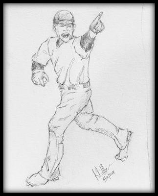 Pencil sketch of angry baseball batter by Karen Little