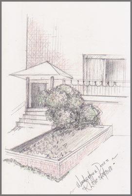 A sketch by Karen Little of a home on Fulton Street in Weehawken, NJ