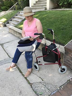 Karen Little sketching scenes in Weehawken, New Jersey